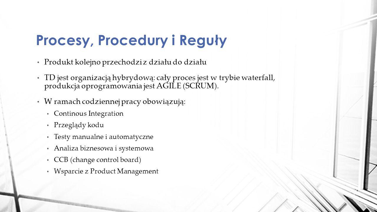 Produkt kolejno przechodzi z działu do działu TD jest organizacją hybrydową: cały proces jest w trybie waterfall, produkcja oprogramowania jest AGILE (SCRUM).