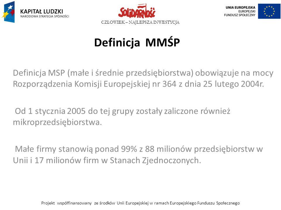 CZŁOWIEK – NAJLEPSZA INWESTYCJA Definicja MMŚP Definicja MSP (małe i średnie przedsiębiorstwa) obowiązuje na mocy Rozporządzenia Komisji Europejskiej