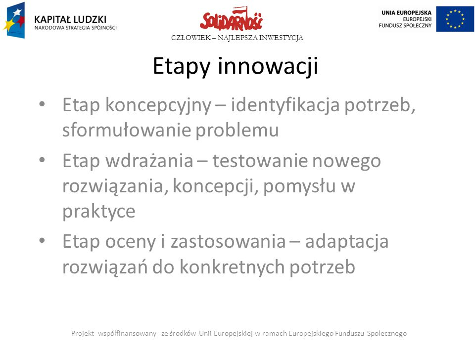 CZŁOWIEK – NAJLEPSZA INWESTYCJA Etapy innowacji Etap koncepcyjny – identyfikacja potrzeb, sformułowanie problemu Etap wdrażania – testowanie nowego ro