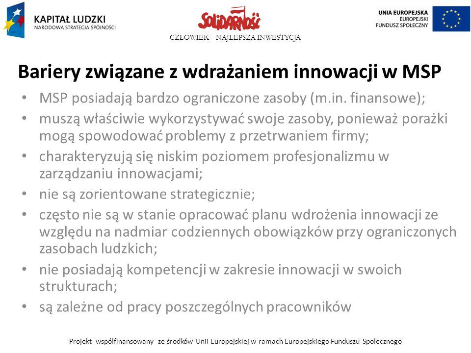 CZŁOWIEK – NAJLEPSZA INWESTYCJA Bariery związane z wdrażaniem innowacji w MSP MSP posiadają bardzo ograniczone zasoby (m.in. finansowe); muszą właściw