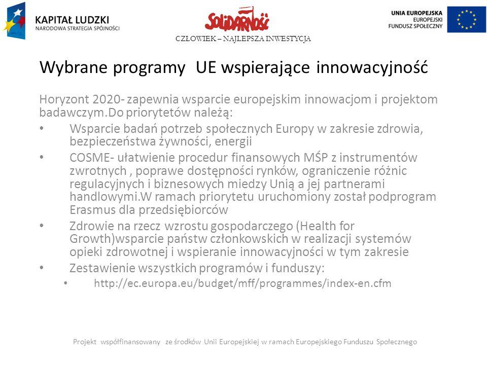 CZŁOWIEK – NAJLEPSZA INWESTYCJA Wybrane programy UE wspierające innowacyjność Horyzont 2020- zapewnia wsparcie europejskim innowacjom i projektom bada