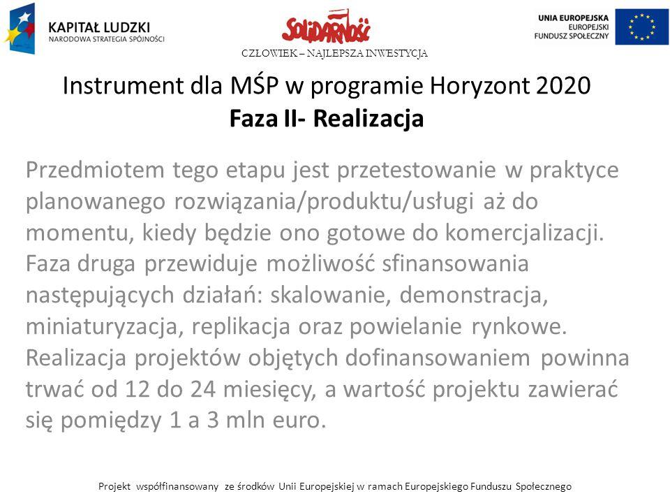 CZŁOWIEK – NAJLEPSZA INWESTYCJA Instrument dla MŚP w programie Horyzont 2020 Faza II- Realizacja Przedmiotem tego etapu jest przetestowanie w praktyce