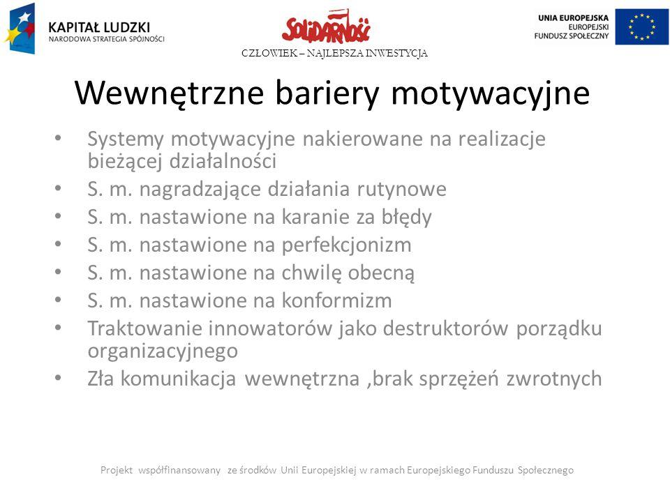 CZŁOWIEK – NAJLEPSZA INWESTYCJA Wewnętrzne bariery motywacyjne Systemy motywacyjne nakierowane na realizacje bieżącej działalności S. m. nagradzające