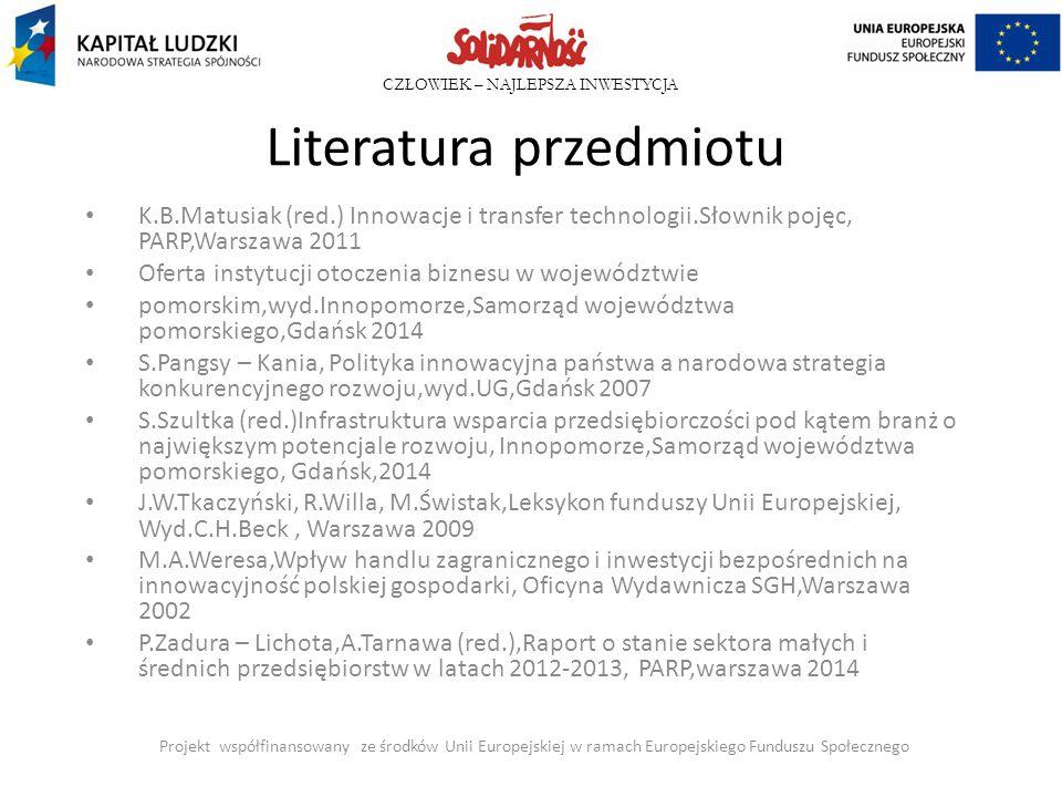 CZŁOWIEK – NAJLEPSZA INWESTYCJA Literatura przedmiotu K.B.Matusiak (red.) Innowacje i transfer technologii.Słownik pojęc, PARP,Warszawa 2011 Oferta in