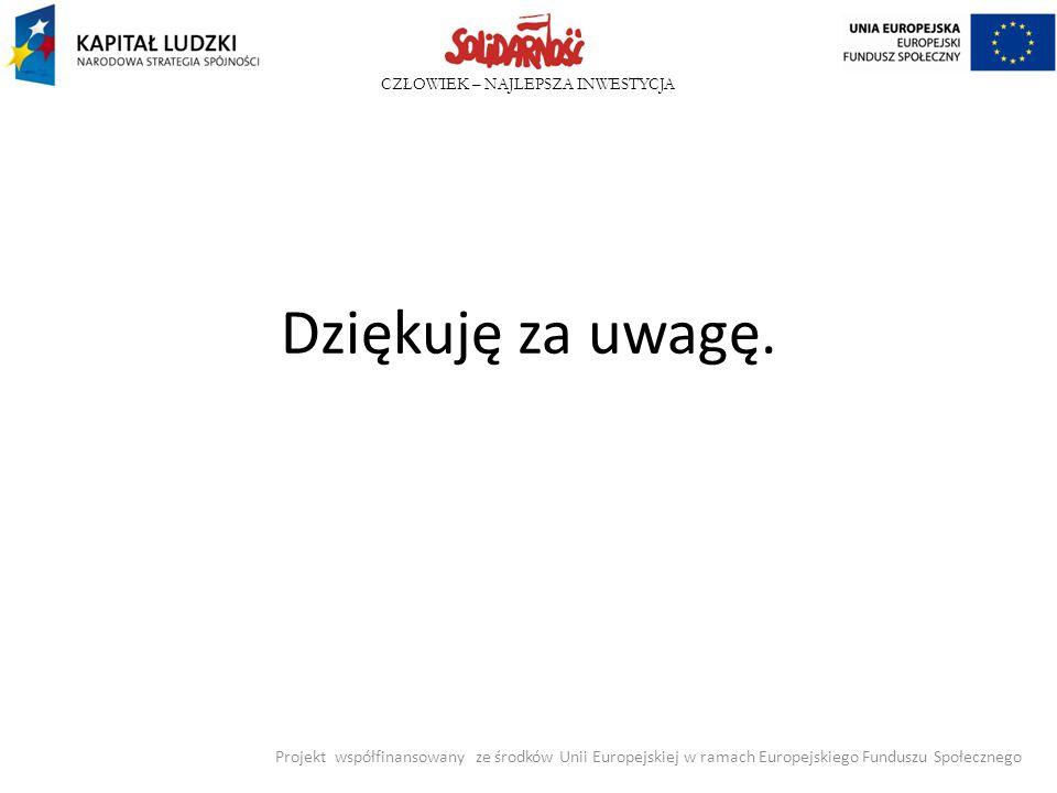 CZŁOWIEK – NAJLEPSZA INWESTYCJA Dziękuję za uwagę. Projekt współfinansowany ze środków Unii Europejskiej w ramach Europejskiego Funduszu Społecznego