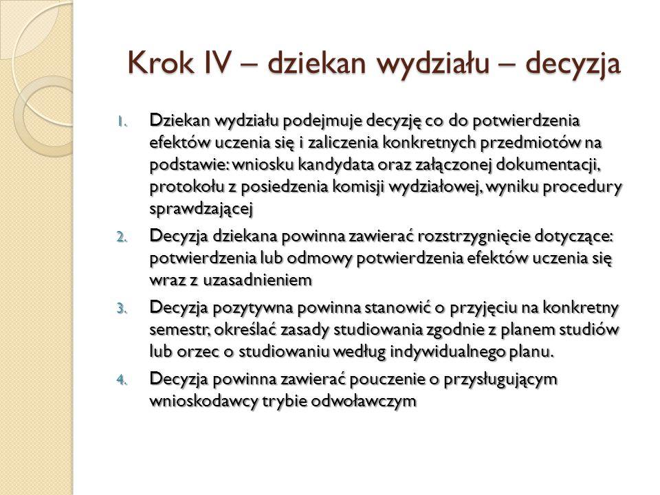 Krok IV – dziekan wydziału – decyzja 1. Dziekan wydziału podejmuje decyzję co do potwierdzenia efektów uczenia się i zaliczenia konkretnych przedmiotó