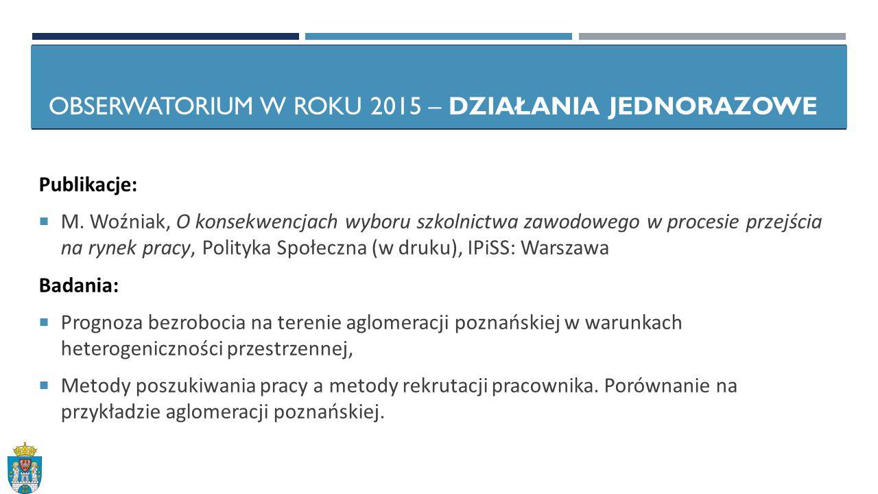 OBSERWATORIUM W ROKU 2015 – DZIAŁANIA JEDNORAZOWE Publikacje:  M.