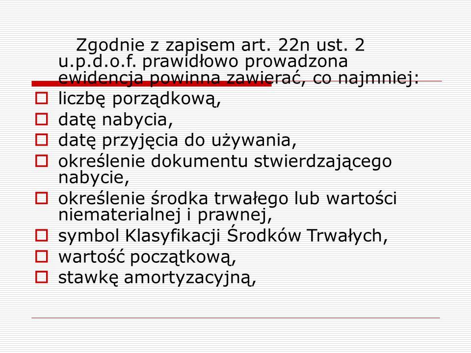 Zgodnie z zapisem art. 22n ust. 2 u.p.d.o.f. prawidłowo prowadzona ewidencja powinna zawierać, co najmniej:  liczbę porządkową,  datę nabycia,  dat