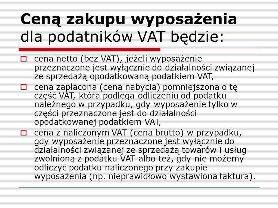 Ceną zakupu wyposażenia dla podatników VAT będzie:  cena netto (bez VAT), jeżeli wyposażenie przeznaczone jest wyłącznie do działalności związanej ze