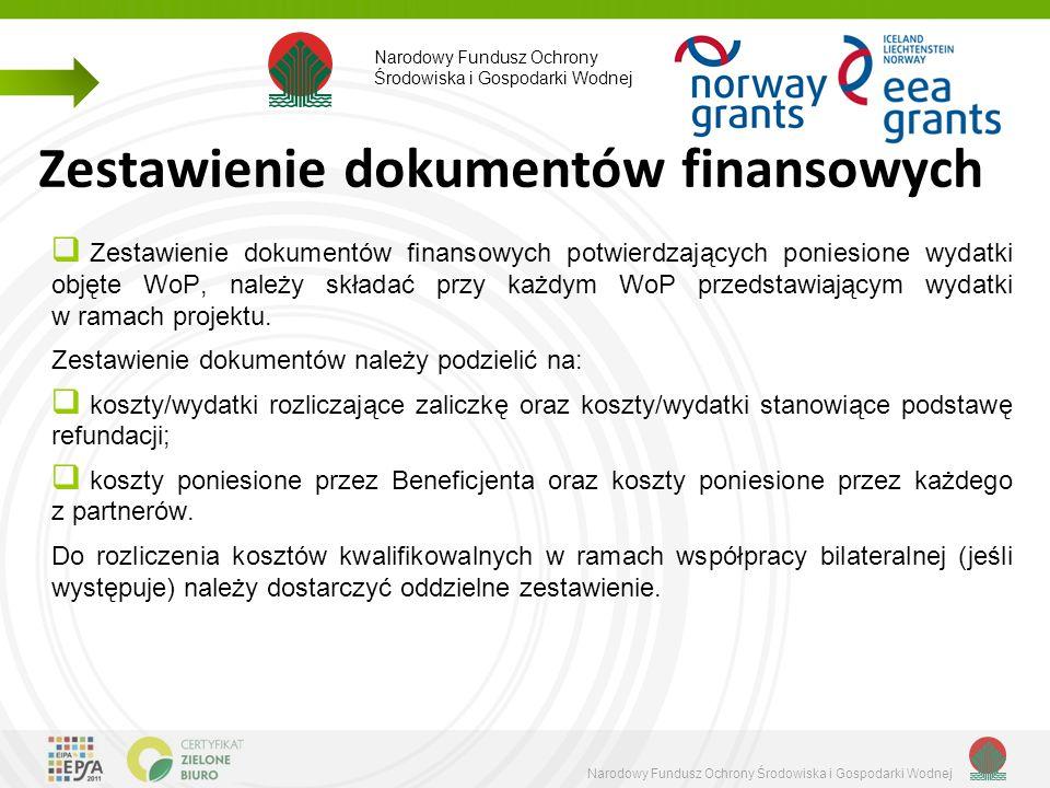Zestawienie dokumentów finansowych  Zestawienie dokumentów finansowych potwierdzających poniesione wydatki objęte WoP, należy składać przy każdym WoP przedstawiającym wydatki w ramach projektu.