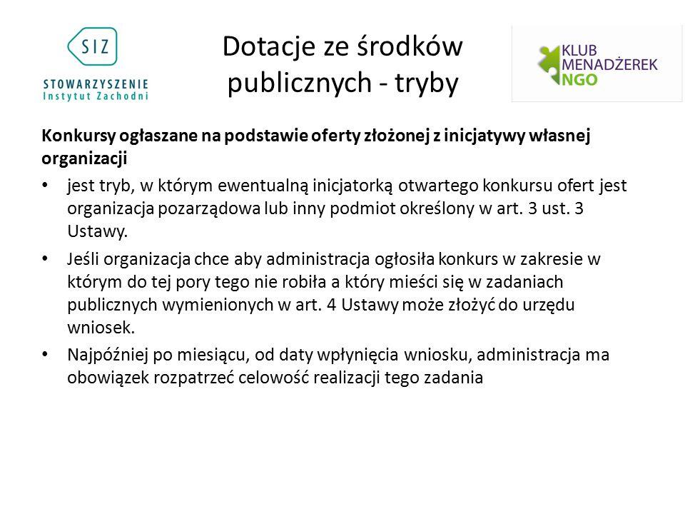 Dotacje ze środków publicznych - tryby Konkursy ogłaszane na podstawie oferty złożonej z inicjatywy własnej organizacji jest tryb, w którym ewentualną