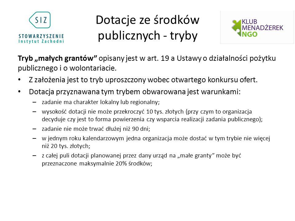 """Dotacje ze środków publicznych - tryby Tryb """"małych grantów"""" opisany jest w art. 19 a Ustawy o działalności pożytku publicznego i o wolontariacie. Z z"""