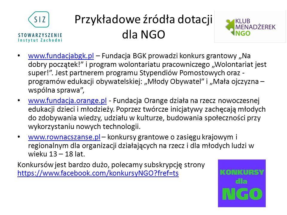 """Przykładowe źródła dotacji dla NGO www.fundacjabgk.pl – Fundacja BGK prowadzi konkurs grantowy """"Na dobry początek!"""" i program wolontariatu pracownicze"""