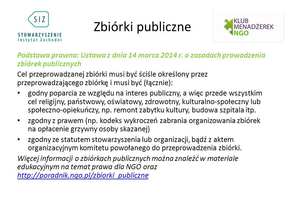 Zbiórki publiczne Podstawa prawna: Ustawa z dnia 14 marca 2014 r.
