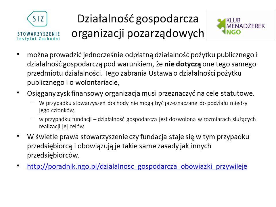 Działalność gospodarcza organizacji pozarządowych można prowadzić jednocześnie odpłatną działalność pożytku publicznego i działalność gospodarczą pod
