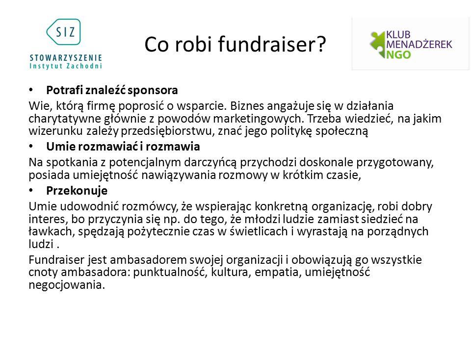 Co robi fundraiser? Potrafi znaleźć sponsora Wie, którą firmę poprosić o wsparcie. Biznes angażuje się w działania charytatywne głównie z powodów mark