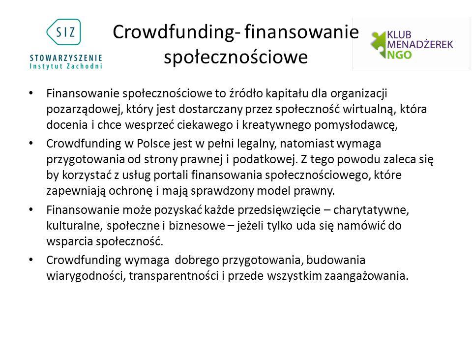 Crowdfunding- finansowanie społecznościowe Finansowanie społecznościowe to źródło kapitału dla organizacji pozarządowej, który jest dostarczany przez społeczność wirtualną, która docenia i chce wesprzeć ciekawego i kreatywnego pomysłodawcę, Crowdfunding w Polsce jest w pełni legalny, natomiast wymaga przygotowania od strony prawnej i podatkowej.