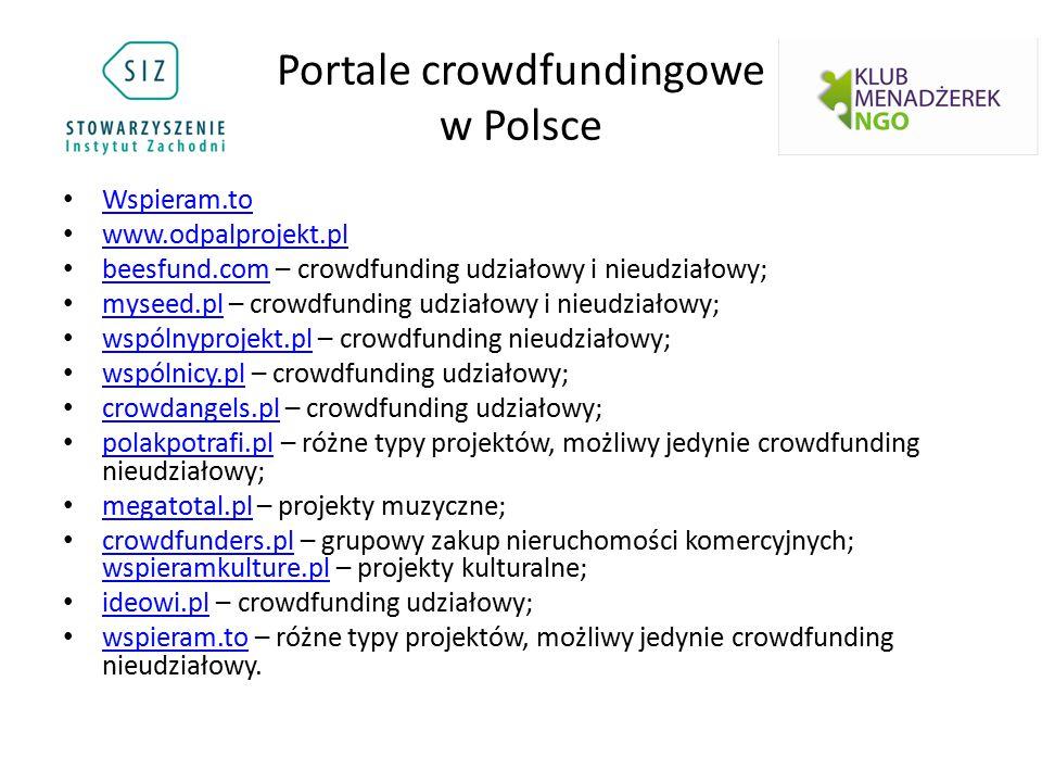 Portale crowdfundingowe w Polsce Wspieram.to www.odpalprojekt.pl beesfund.com – crowdfunding udziałowy i nieudziałowy; beesfund.com myseed.pl – crowdf