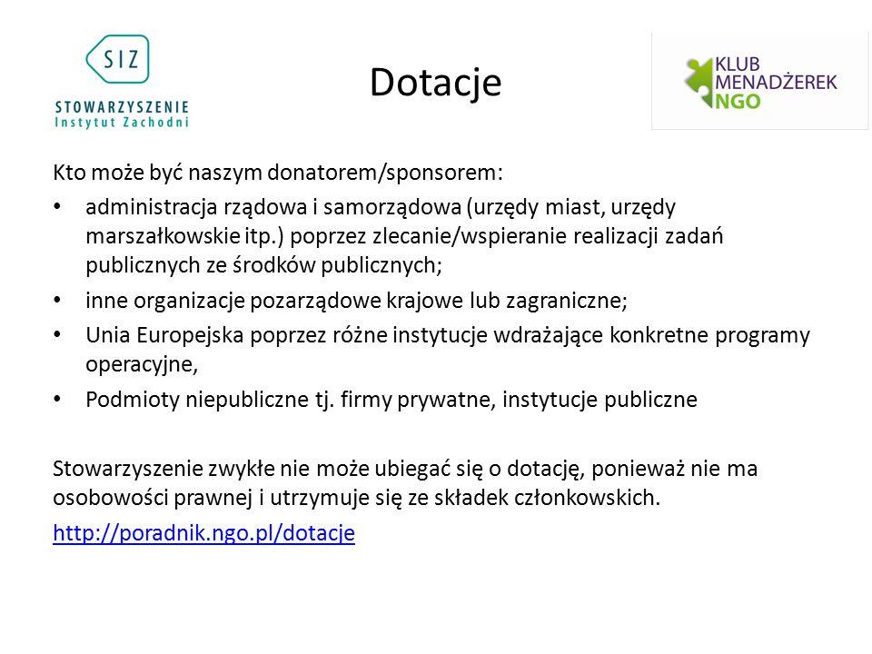 Dotacje Kto może być naszym donatorem/sponsorem: administracja rządowa i samorządowa (urzędy miast, urzędy marszałkowskie itp.) poprzez zlecanie/wspie