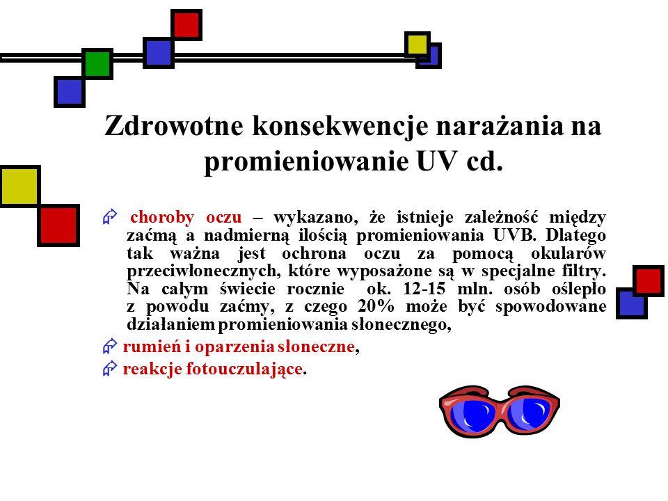 Zdrowotne konsekwencje narażania na promieniowanie UV cd.  choroby oczu – wykazano, że istnieje zależność między zaćmą a nadmierną ilością promieniow