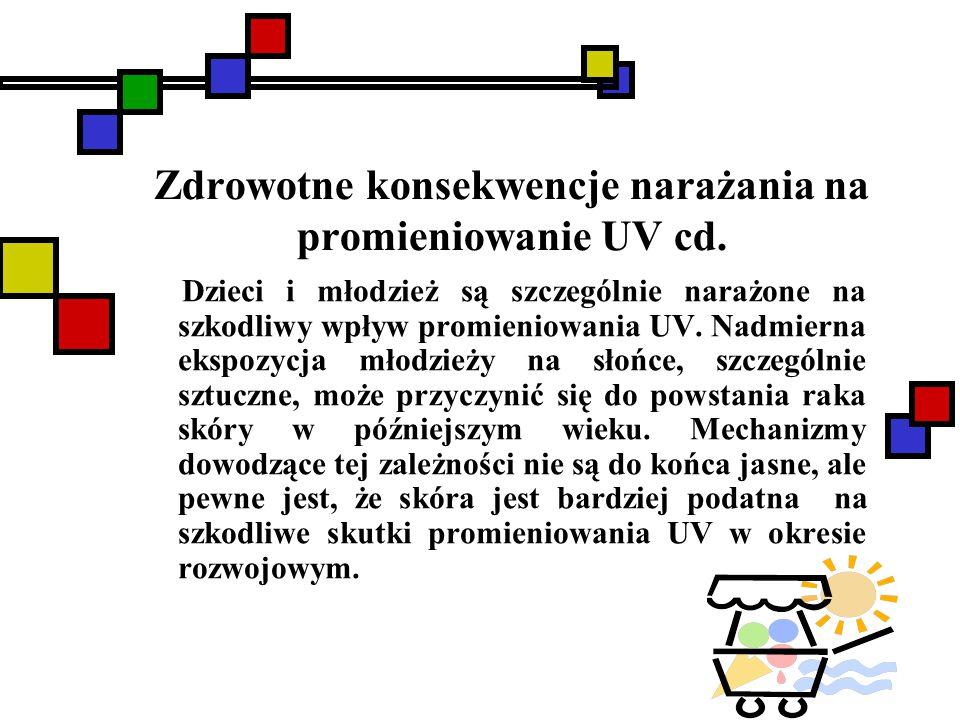 Zdrowotne konsekwencje narażania na promieniowanie UV cd. Dzieci i młodzież są szczególnie narażone na szkodliwy wpływ promieniowania UV. Nadmierna ek