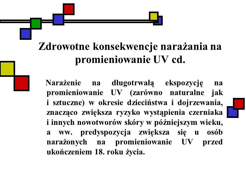 Zdrowotne konsekwencje narażania na promieniowanie UV cd. Narażenie na długotrwałą ekspozycję na promieniowanie UV (zarówno naturalne jak i sztuczne)