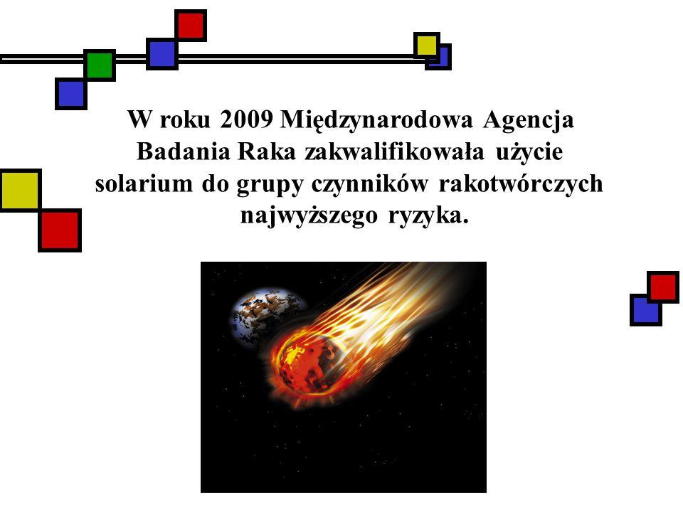 W roku 2009 Międzynarodowa Agencja Badania Raka zakwalifikowała użycie solarium do grupy czynników rakotwórczych najwyższego ryzyka.