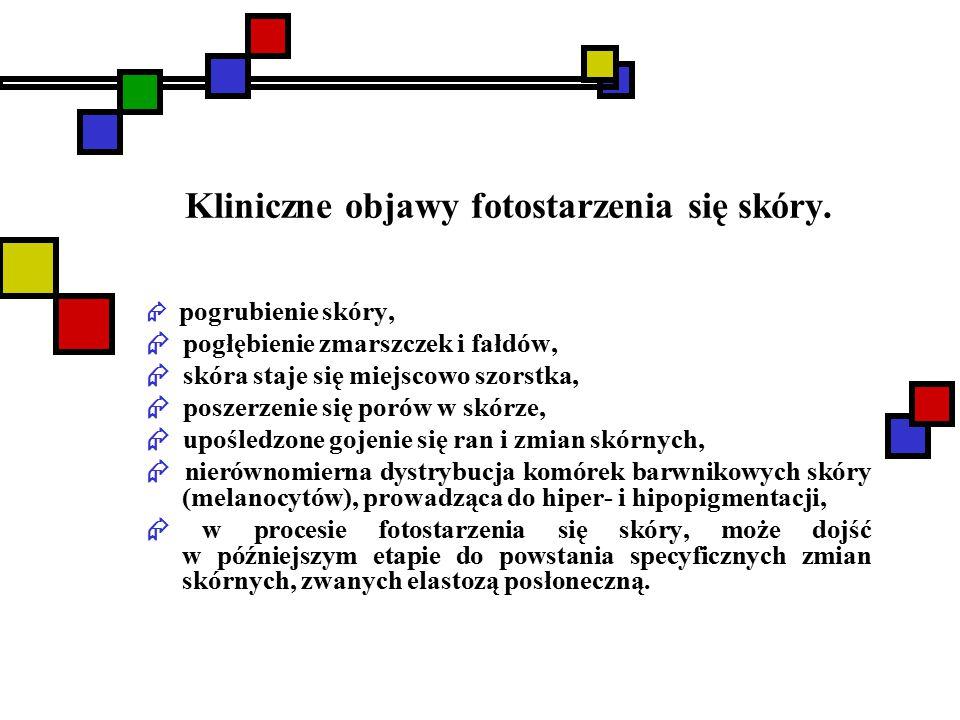 Kliniczne objawy fotostarzenia się skóry.