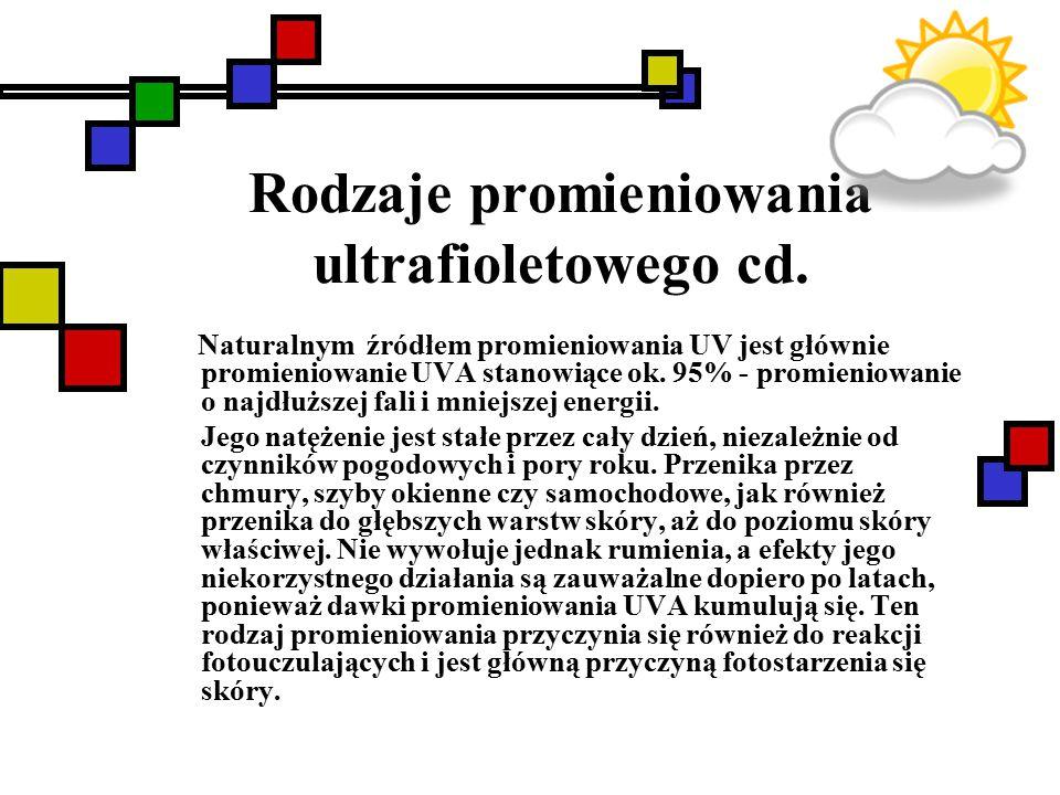 Rodzaje promieniowania ultrafioletowego cd. Naturalnym źródłem promieniowania UV jest głównie promieniowanie UVA stanowiące ok. 95% - promieniowanie o