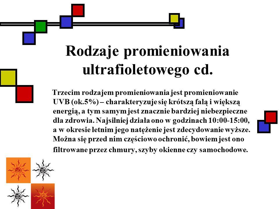 Rodzaje promieniowania ultrafioletowego cd. Trzecim rodzajem promieniowania jest promieniowanie UVB (ok.5%) – charakteryzuje się krótszą falą i większ