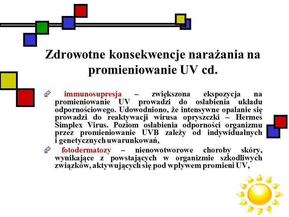 Zdrowotne konsekwencje narażania na promieniowanie UV cd.  immunosupresja – zwiększona ekspozycja na promieniowanie UV prowadzi do osłabienia układu