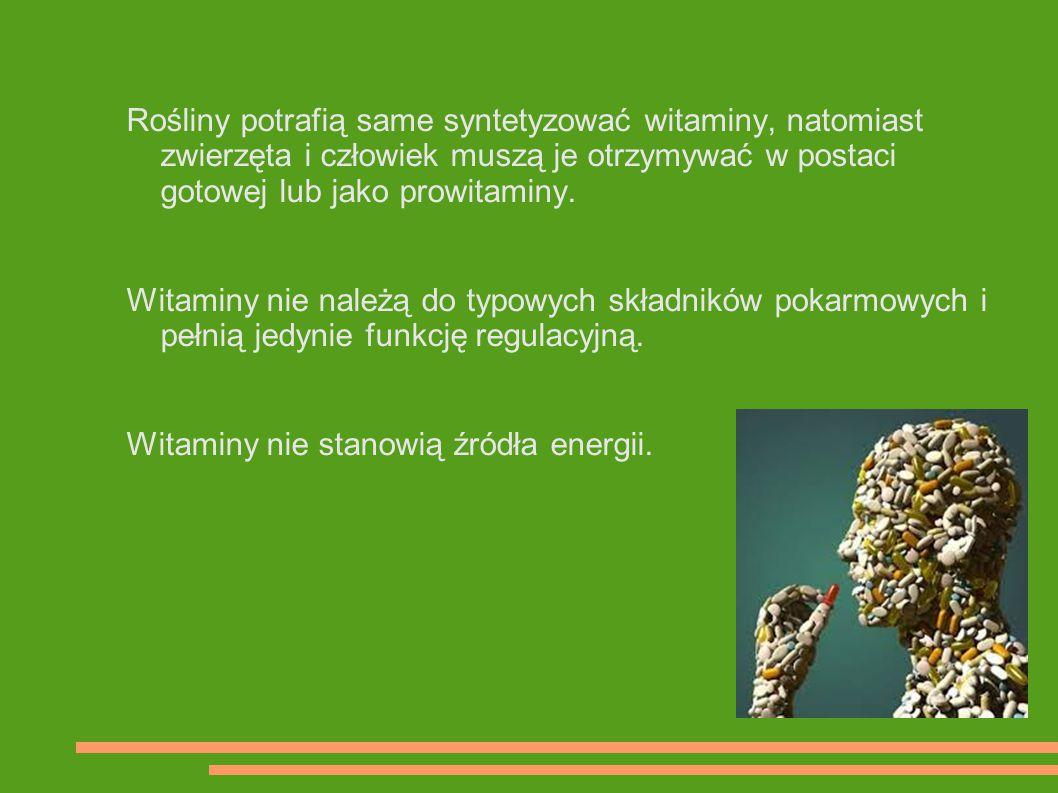 Rośliny potrafią same syntetyzować witaminy, natomiast zwierzęta i człowiek muszą je otrzymywać w postaci gotowej lub jako prowitaminy. Witaminy nie n