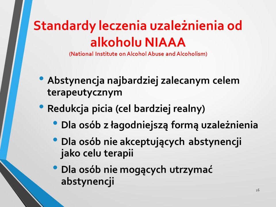 Standardy leczenia uzależnienia od alkoholu NIAAA (National Institute on Alcohol Abuse and Alcoholism) Abstynencja najbardziej zalecanym celem terapeu