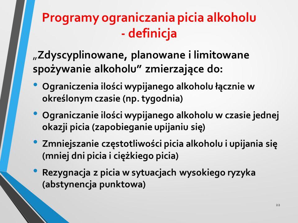 """Programy ograniczania picia alkoholu - definicja """"Zdyscyplinowane, planowane i limitowane spożywanie alkoholu"""" zmierzające do: Ograniczenia ilości wyp"""
