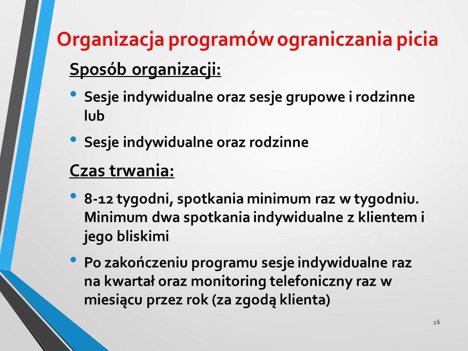 Organizacja programów ograniczania picia Sposób organizacji: Sesje indywidualne oraz sesje grupowe i rodzinne lub Sesje indywidualne oraz rodzinne Cza