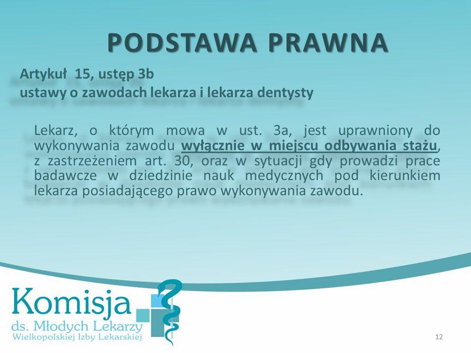 Artykuł 15, ustęp 3b ustawy o zawodach lekarza i lekarza dentysty Lekarz, o którym mowa w ust.