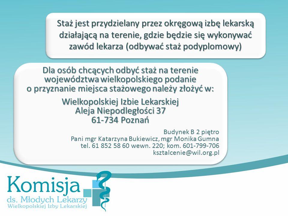 Staż jest przydzielany przez okręgową izbę lekarską działającą na terenie, gdzie będzie się wykonywać zawód lekarza (odbywać staż podyplomowy) Dla osób chcących odbyć staż na terenie województwa wielkopolskiego podanie o przyznanie miejsca stażowego należy złożyć w: Wielkopolskiej Izbie Lekarskiej Aleja Niepodległości 37 61-734 Poznań Budynek B 2 piętro Pani mgr Katarzyna Bukiewicz, mgr Monika Gumna tel.