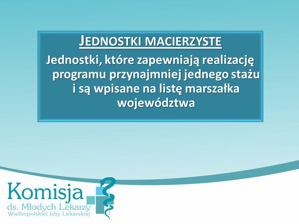 J EDNOSTKI MACIERZYSTE Jednostki, które zapewniają realizację programu przynajmniej jednego stażu i są wpisane na listę marszałka województwa