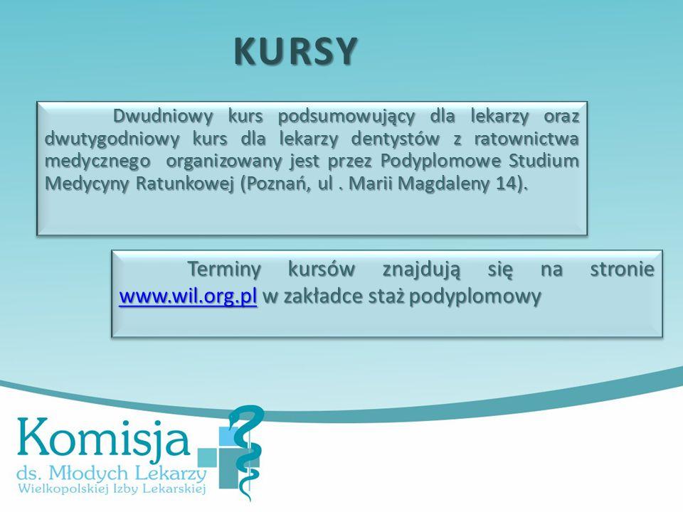 Dwudniowy kurs podsumowujący dla lekarzy oraz dwutygodniowy kurs dla lekarzy dentystów z ratownictwa medycznego organizowany jest przez Podyplomowe Studium Medycyny Ratunkowej (Poznań, ul.