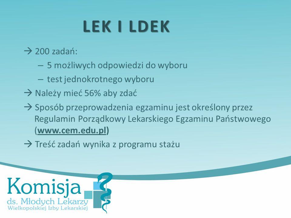  200 zadań: – 5 możliwych odpowiedzi do wyboru – test jednokrotnego wyboru  Należy mieć 56% aby zdać  Sposób przeprowadzenia egzaminu jest określony przez Regulamin Porządkowy Lekarskiego Egzaminu Państwowego (www.cem.edu.pl)  Treść zadań wynika z programu stażu LEK I LDEK