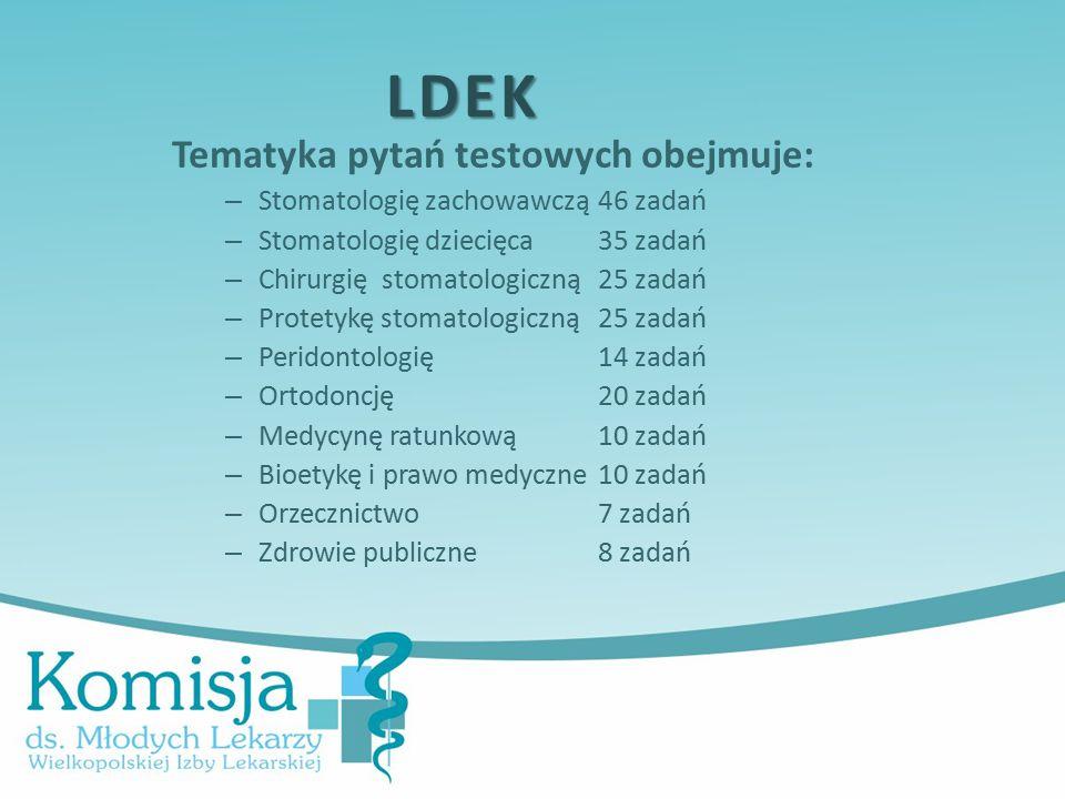 Tematyka pytań testowych obejmuje: – Stomatologię zachowawczą46 zadań – Stomatologię dziecięca35 zadań – Chirurgię stomatologiczną25 zadań – Protetykę stomatologiczną25 zadań – Peridontologię14 zadań – Ortodoncję20 zadań – Medycynę ratunkową 10 zadań – Bioetykę i prawo medyczne 10 zadań – Orzecznictwo 7 zadań – Zdrowie publiczne 8 zadań LDEK