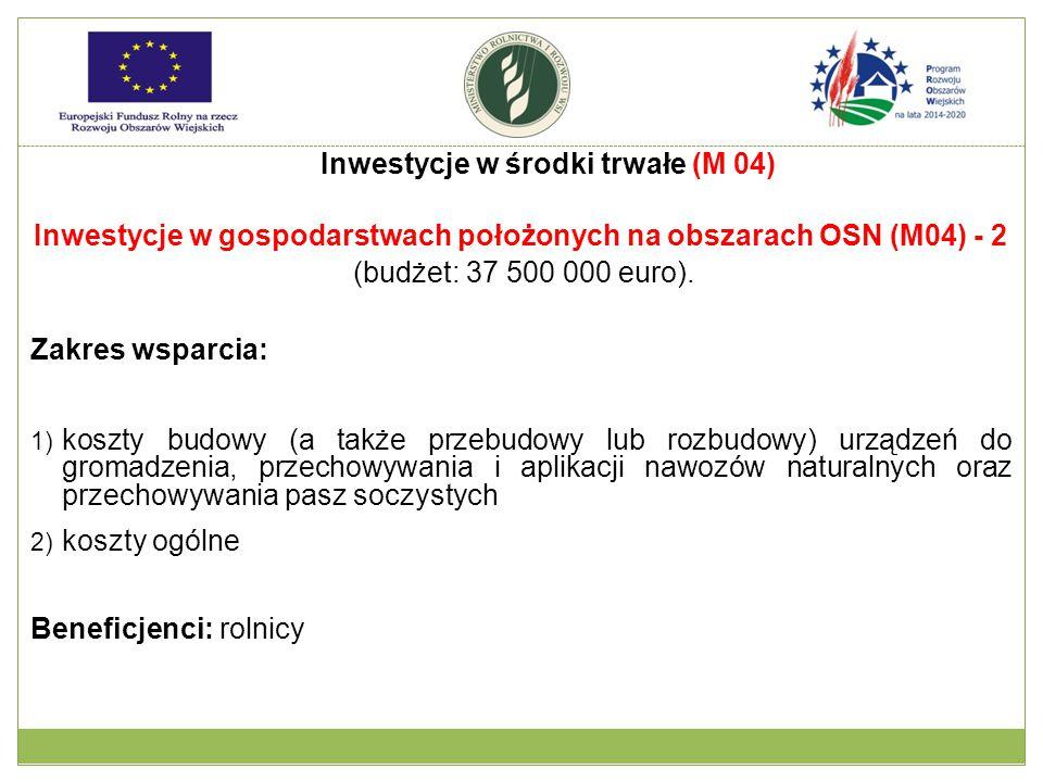 Inwestycje w gospodarstwach położonych na obszarach OSN (M04) - 2 (budżet: 37 500 000 euro). Zakres wsparcia: 1) koszty budowy (a także przebudowy lub