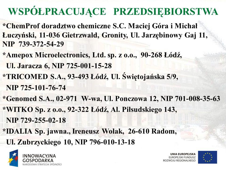 WSPÓŁPRACUJĄCE PRZEDSIĘBIORSTWA *ChemProf doradztwo chemiczne S.C. Maciej Góra i Michał Łuczyński, 11-036 Gietrzwald, Gronity, Ul. Jarzębinowy Gaj 11,