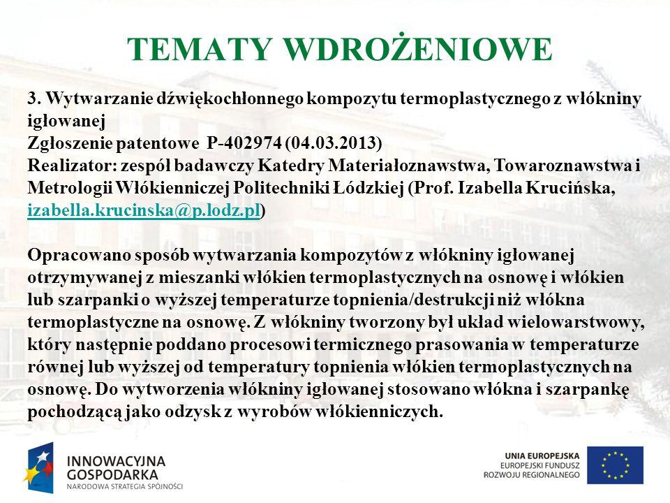 TEMATY WDROŻENIOWE 3. Wytwarzanie dźwiękochłonnego kompozytu termoplastycznego z włókniny igłowanej Zgłoszenie patentowe P-402974 (04.03.2013) Realiza