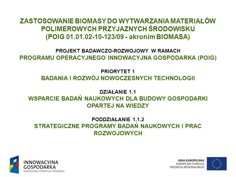 ZASTOSOWANIE BIOMASY DO WYTWARZANIA MATERIAŁÓW POLIMEROWYCH PRZYJAZNYCH ŚRODOWISKU (POIG 01.01.02-10-123/09 - akronim BIOMASA) PROJEKT BADAWCZO-ROZWOJ