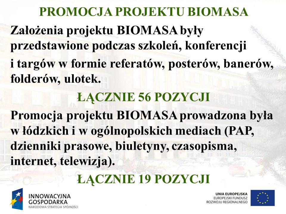 PROMOCJA PROJEKTU BIOMASA Założenia projektu BIOMASA były przedstawione podczas szkoleń, konferencji i targów w formie referatów, posterów, banerów, f