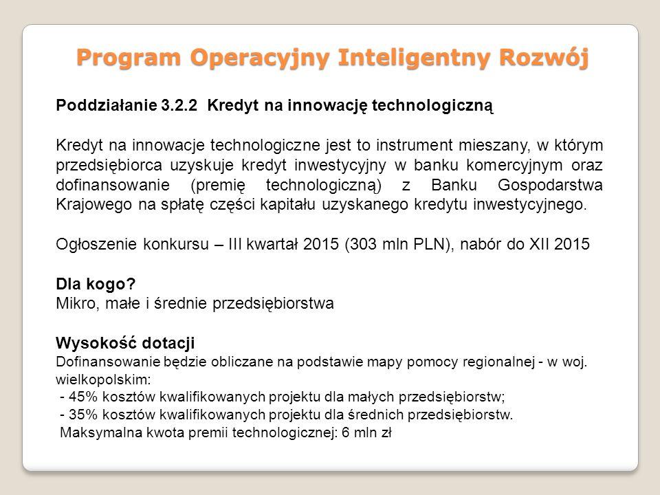 Program Operacyjny Inteligentny Rozwój Poddziałanie 3.2.2 Kredyt na innowację technologiczną Kredyt na innowacje technologiczne jest to instrument mie