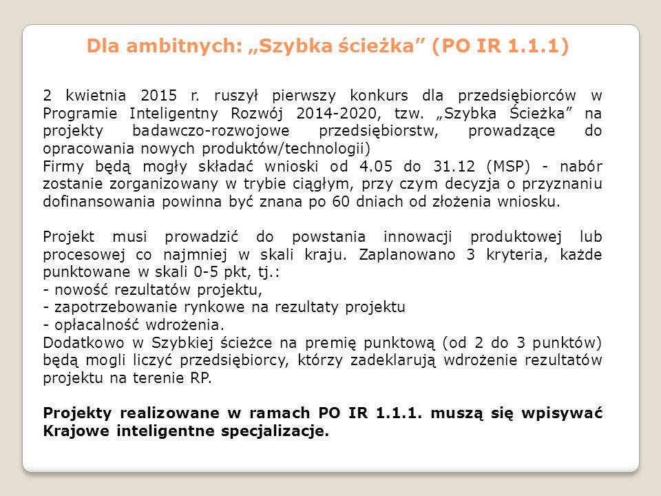 """Dla ambitnych: """"Szybka ścieżka"""" (PO IR 1.1.1) 2 kwietnia 2015 r. ruszył pierwszy konkurs dla przedsiębiorców w Programie Inteligentny Rozwój 2014-2020"""