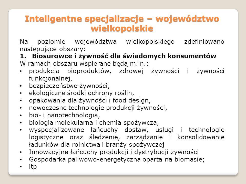 Inteligentne specjalizacje – województwo wielkopolskie Na poziomie województwa wielkopolskiego zdefiniowano następujące obszary: 1.Biosurowce i żywnoś