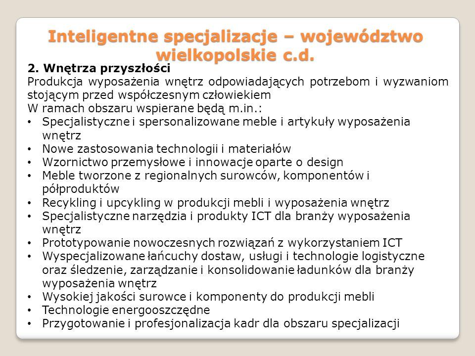 Inteligentne specjalizacje – województwo wielkopolskie c.d. 2. Wnętrza przyszłości Produkcja wyposażenia wnętrz odpowiadających potrzebom i wyzwaniom